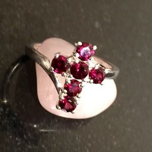 Jewelry - Rhodolite Garnet Sterling Silver Cross Ring